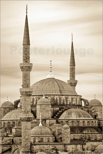 Poster the blue mosque in sepia (Istanbul - Turkey)
