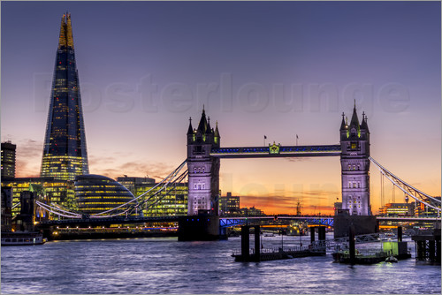 Charles Bowman - The Shard with Tower Bridge and River Thames at sunset, London, England, United Kingdom, Europe