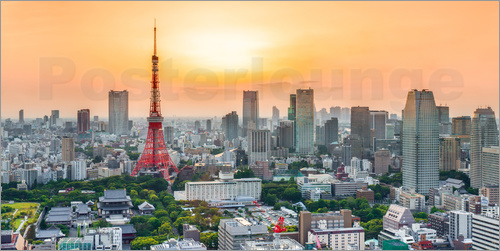 Poster Tokyo skyline at sunset