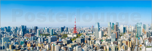 Poster Tokyo skyline panorama with Tokyo Tower