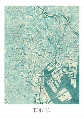 Poster Tokyo Map Blue