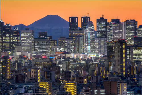 Poster Tokyo skyline at night with Mount Fuji in the background