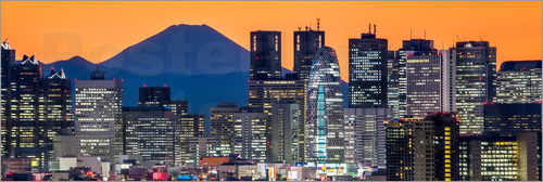 Poster Tokyo skyline panorama at night with Mount Fuji in the background