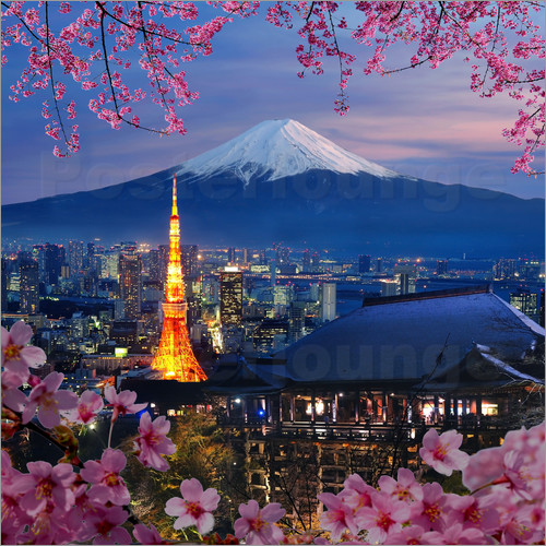 Poster Tokyo tower and Mt. Fuji