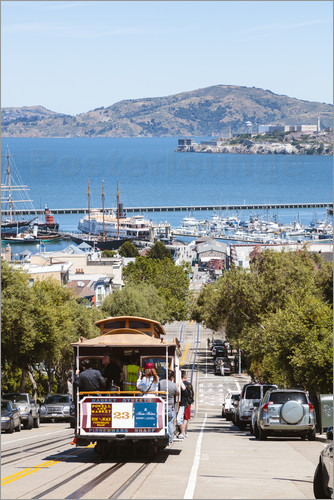 Poster Tram with Alcatraz island in the background, San Francisco, USA