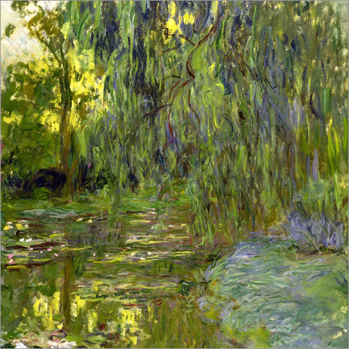 Poster Weeping Willow, The lily pond in Giverny