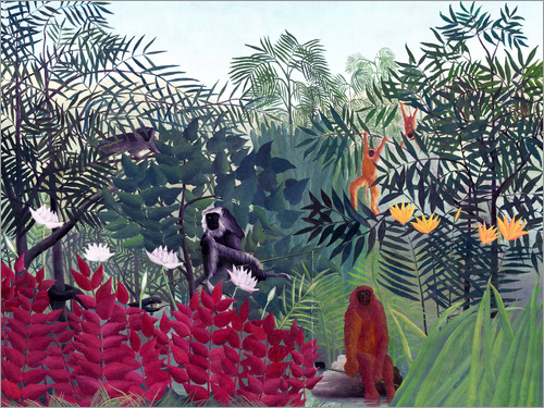 Poster Tropical Forest with Monkeys