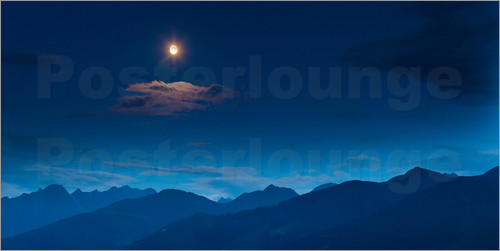 Poster Moon over mountains