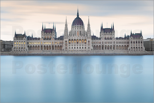Poster Hungarian Parliament with Danube, Budapest
