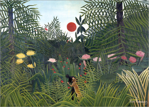 Henri Rousseau - Jungle landscape with Setting Sun