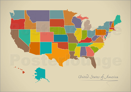 Ingo Menhard Modern Map Of USA Artwork Design Poster Posterlounge - Usa map graphic