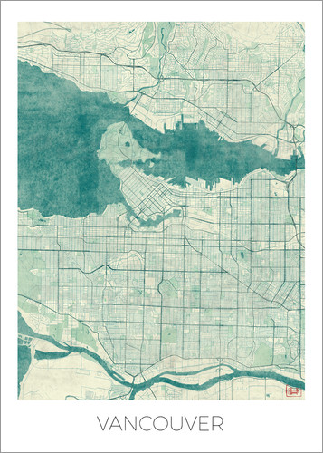 Poster Vancouver, Canada Map Blue
