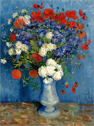 Poster Vase with Cornflowers and Poppies