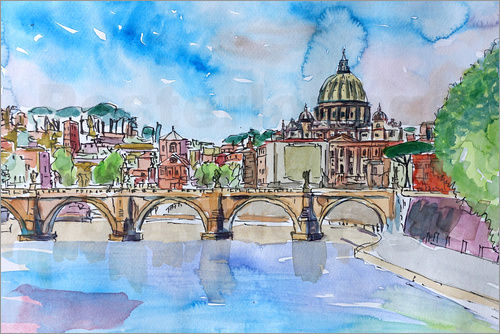 M. Bleichner - Vatican Rome Italy Sunset On River Tiber With St Peter II