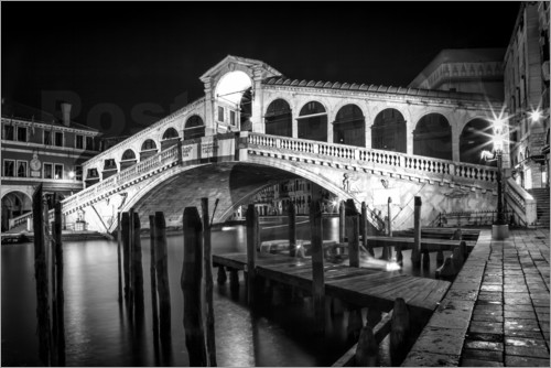 Poster VENICE Rialto Bbridge at Night
