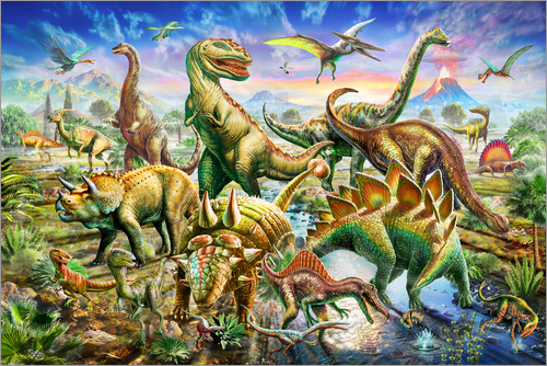 Poster Assembly of dinosaurs