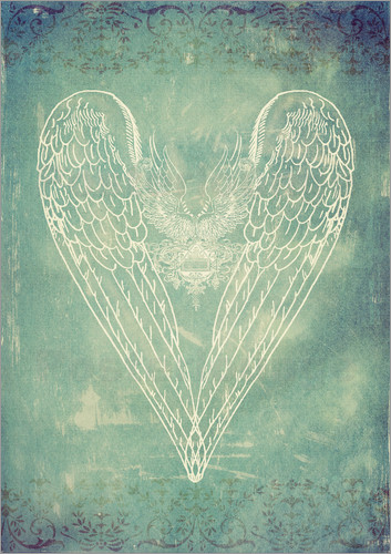 Poster Vintage Winged Heart