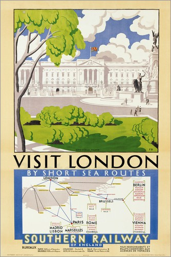 English School - 'Visit London', poster advertising Southern Railway, 1929