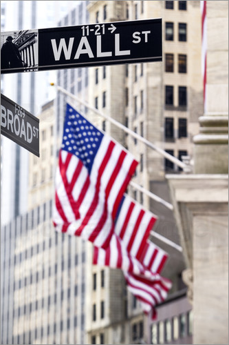 Wall street sign with New York Stock Exchange