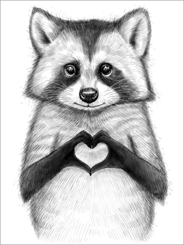 Poster Raccoon with heart