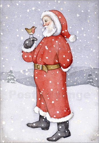 Poster Father Christmas and a Robin