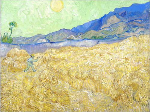Vincent van Gogh - Wheat Field with Reaper at sunrise