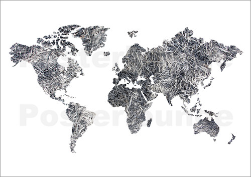 Poster World Map - Dried