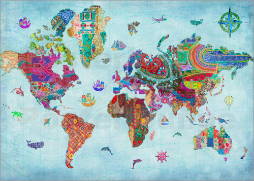 Poster 24838 World Map Quilt (Variant 1)