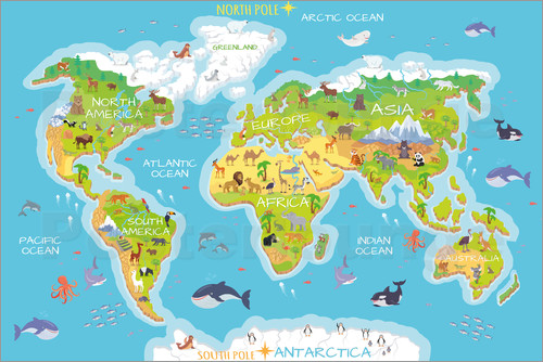 Kidz collection world map with animals poster posterlounge world map with animals english gumiabroncs Image collections