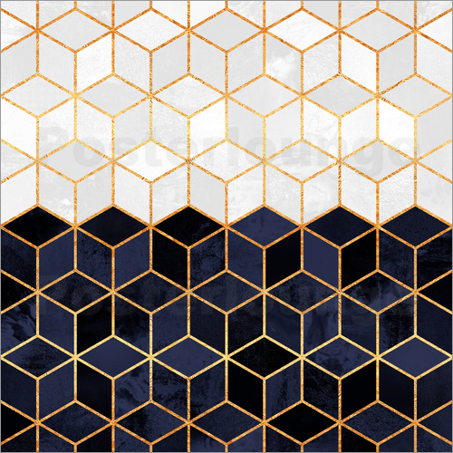Elisabeth Fredriksson - White and navy cubes