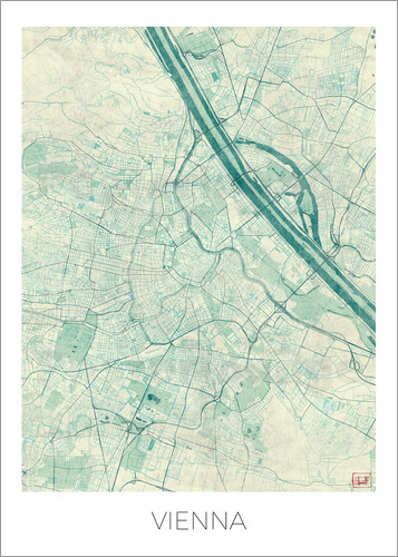 Hubert Roguski - Vienna Map Blue