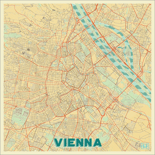 Poster Vienna Map Retro