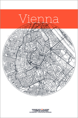 Poster Vienna map city black and white