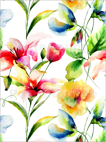 Poster Wildflowers in Watercolor
