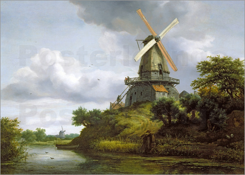 Jacob Isaacksz van Ruisdael - Windmill by a River