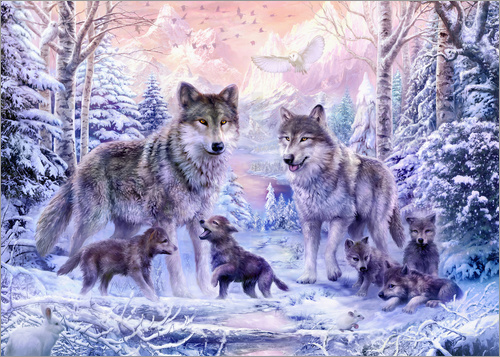 Poster Winter Wolf Family