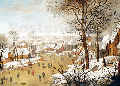 Pieter Brueghel d.J. - A Winter Landscape with Skaters and a Bird Trap