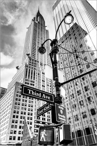 Poster High Rise New York City - Chrysler Building (monochrome)