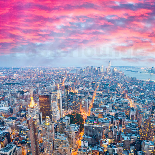 posters affiches d 39 amazing new york skyline at night posterlounge. Black Bedroom Furniture Sets. Home Design Ideas