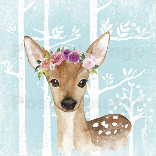 UtArt - Glamorous fawn with blossoms in the blue forest