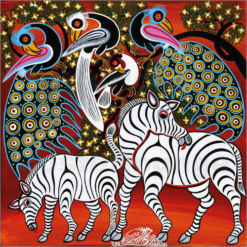 Poster Zebras with peacock