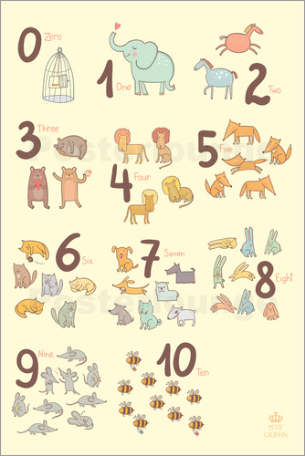 petit griffin zoological numbers for nursery poster. Black Bedroom Furniture Sets. Home Design Ideas
