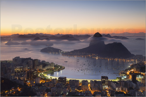Poster Sugarloaf Mountain and Botafogo Bay