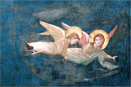 Giotto di Bondone - two angels floating above Christ's head
