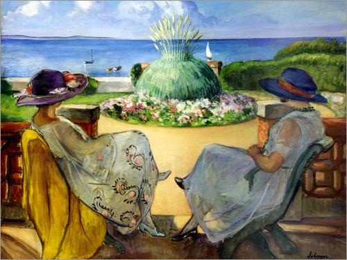 Poster Two women on a terrace by the sea