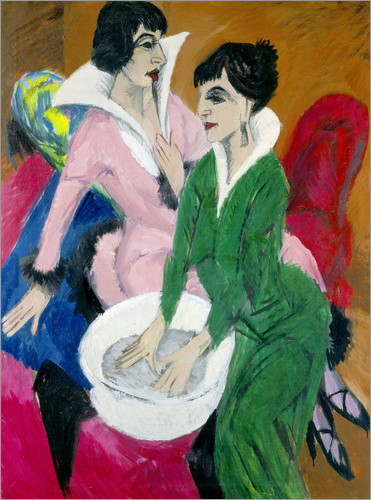 Ernst Ludwig Kirchner - Two women with sink (The Sisters)