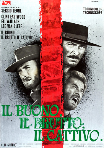 Poster THE GOOD, THE BAD AND THE UGLY, (IL BUONO, IL BRUTTO, IL CATTIVO), Clint Eastwood, Lee Van cleef, El