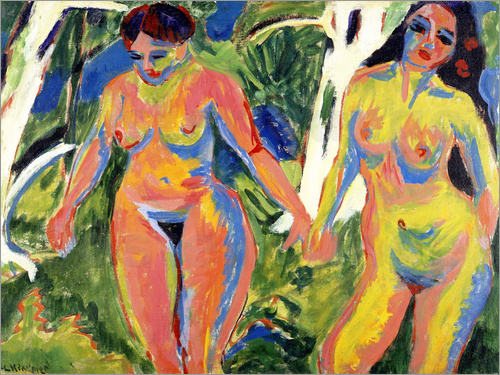 Ernst Ludwig Kirchner - Two Nude Women in a Wood