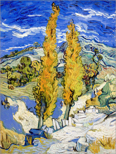 Poster Two Poplars on a Hill