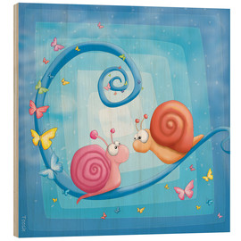 Wood print  blue snails - Tooshtoosh
